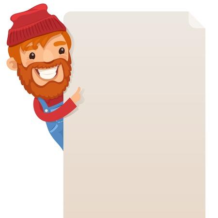 blank poster: Lumberjack looking at blank poster   Illustration