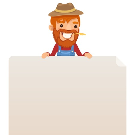 blank poster: Farmer looking at blank poster on top  Illustration