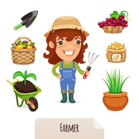 carretilla: Mujer Farmer Icons Set
