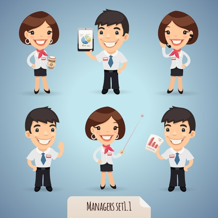 Managers Cartoon Characters Set1.1  Vector