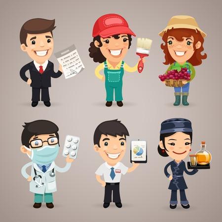Professions Cartoon Characters  Vector