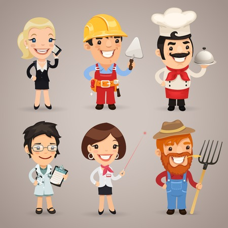 Professions Cartoon Characters Vector