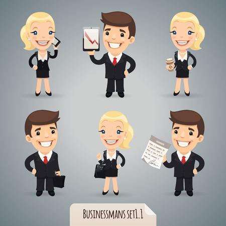 bag cartoon: Businessmans Cartoon Characters Illustration