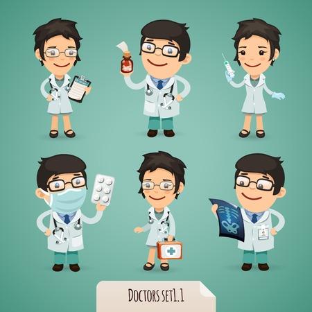 cheerful cartoon: Los m�dicos Personajes de dibujos animados Vectores
