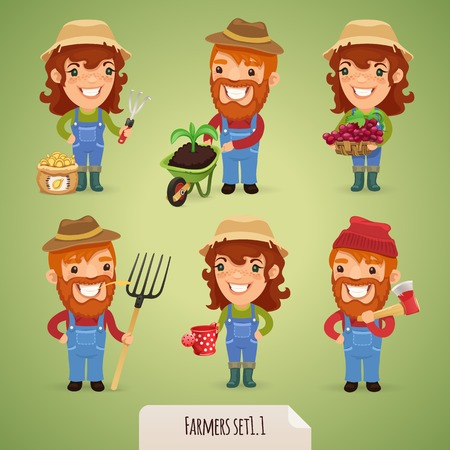 Farmers Cartoon Characters  Vector