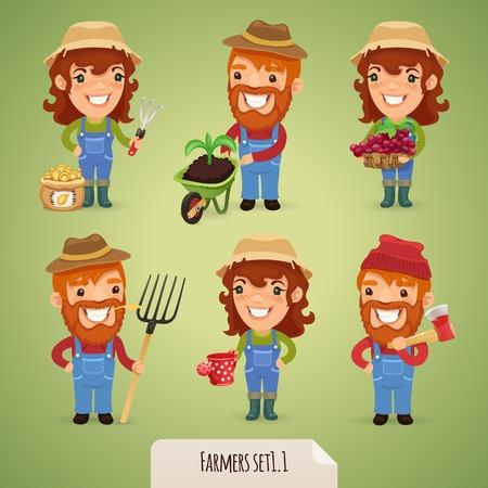 cartoon dad: Farmers Cartoon Characters  Illustration