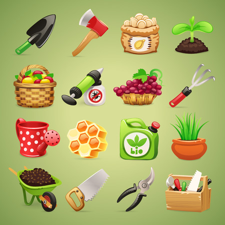 honey apple: Farmers Tools Icons Set1 1  In the EPS file, each element is grouped separately  Clipping paths included in additional jpg format