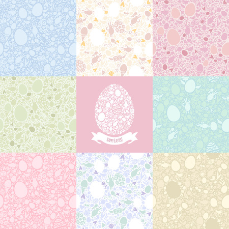 pastel shades: Eight Versions Easter Seamless Pattern in Pastel Shades  Easter symbols Shapes  Five editable additional versions pattern in swatches