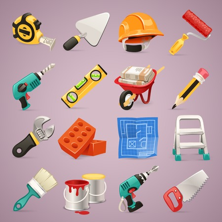 pencil cartoon: Construction Icons Set1 1 In the EPS file, each element is grouped separately  Clipping paths included in additional jpg format