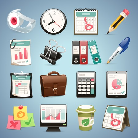 cartoon calendar: Office Equipment Icons   Illustration