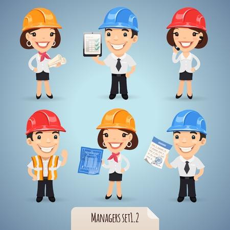 superintendent: Personajes de dibujos animados Los gerentes en el casco Vectores