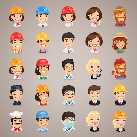 Professions Vector Characters Icons    Ilustração
