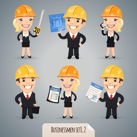 Businessmen Cartoon Characters In Helmet    Ilustração