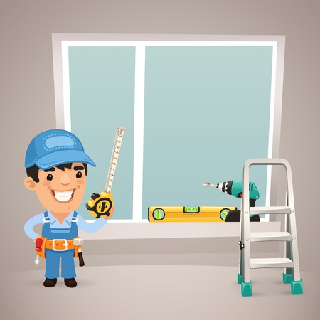 Worker Is Installing the Window  In the EPS file, each element is grouped separately  Clipping paths included in additional jpg format  Vector