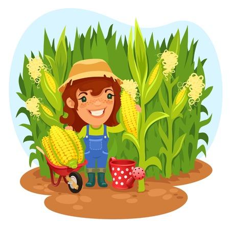 Los trazados de recorte por separado cosecha Mujer Granjero en un campo de maíz en el archivo EPS, cada elemento se agrupa incluyen en formato jpg adicional Ilustración de vector