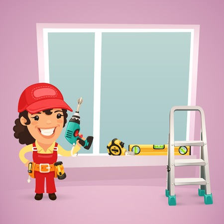 cartoon carpenter: Female Worker Is Installing the Window  In the EPS file, each element is grouped separately  Clipping paths included in additional jpg format