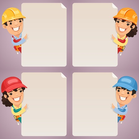 blank poster: Builders Cartoon Characters Looking at Blank Poster Set  In the EPS file, each element is grouped separately  Clipping paths included in additional jpg format