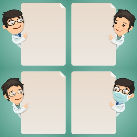 doctors: Doctors Cartoon Characters Looking at Blank Poster Set  In the EPS file, each element is grouped separately  Clipping paths included in additional jpg format