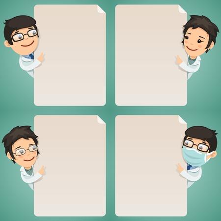 Médecins personnages de dessin animé regardant une affiche vierge définie dans le fichier EPS, chaque élément est regroupé séparément chemins de détourage inclus en format jpg supplémentaires