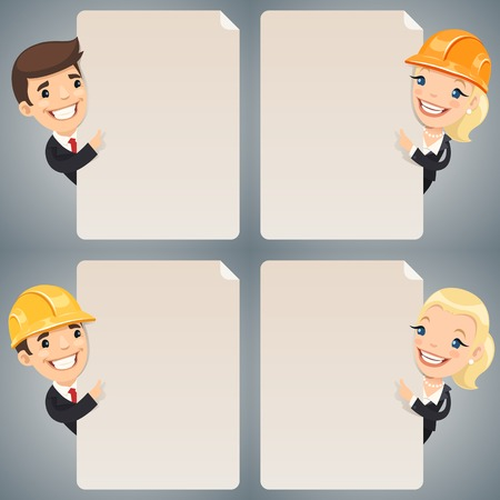 superintendent: Businessmen Cartoon Characters Looking at Blank Poster Set. In the EPS file, each element is grouped separately. Clipping paths included in additional jpg format.