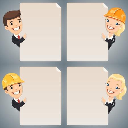superintendent: Personajes de dibujos animados Empresarios Mirando Set Cartel En Blanco. En el archivo EPS, cada elemento se agrupa por separado. Caminos de recortes incluidos en formato jpg adicional.