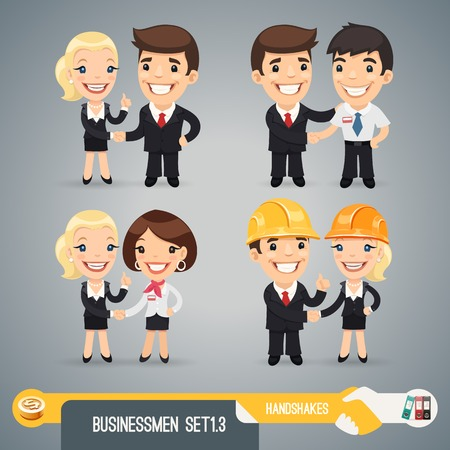 Handshake business: Businessman Cartoon Characters Set In the EPS file, each element is grouped separately.