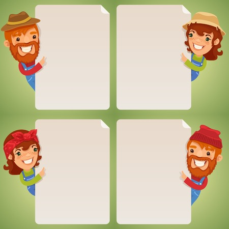 blank poster: Farmers Cartoon Characters Looking at Blank Poster Set. In the EPS file, each element is grouped separately.  Illustration