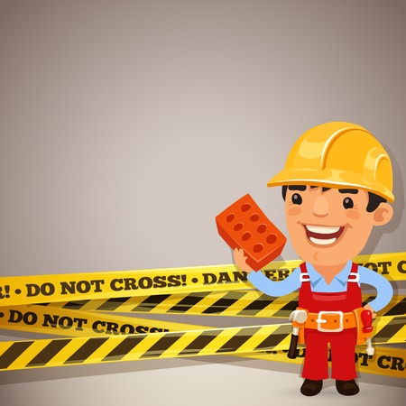 cartoon carpenter: Builder With Danger Tapes