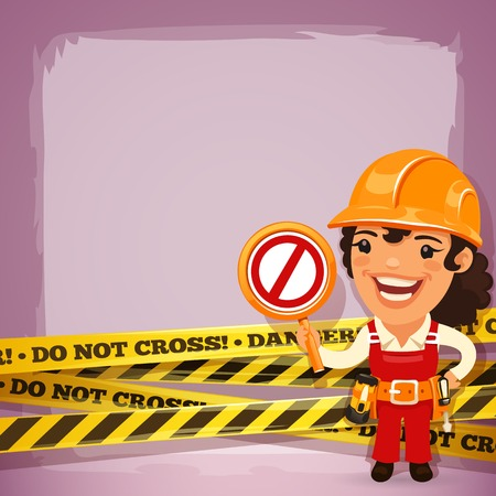 coverall: Female Builder With Danger Tapes