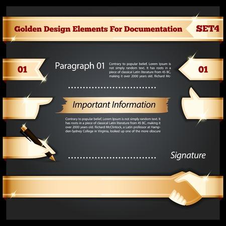 pen and marker: Golden Design Elements ,each element is grouped separately.  Illustration