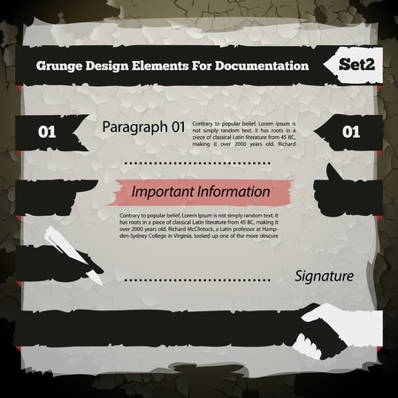 chipped: Grunge Design Elements For Documentation Set,each element is grouped separately.