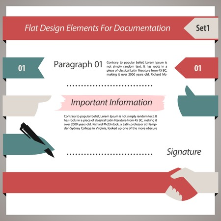Flat Design Elements For Documentation Set.  each element is grouped separately.  Vector