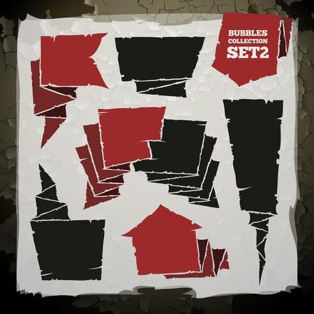 drapeau pirate: Grunge Speech Bubbles Set Collection. chaque élément est regroupé séparément.