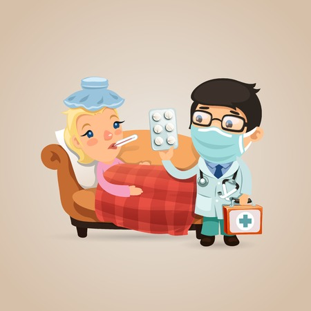 Doctor Visits a Sick Woman.  each element is grouped separately.  Vector