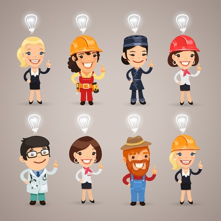 Set Of The Different Profession Characters With Idea Signs Above Their Heads.  each element is grouped separately.  Ilustração