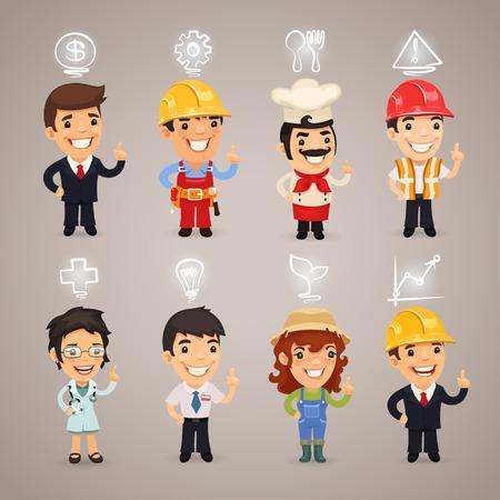 carpintero: Profesiones Personajes con iconos. cada elemento se agrupan por separado. Vectores