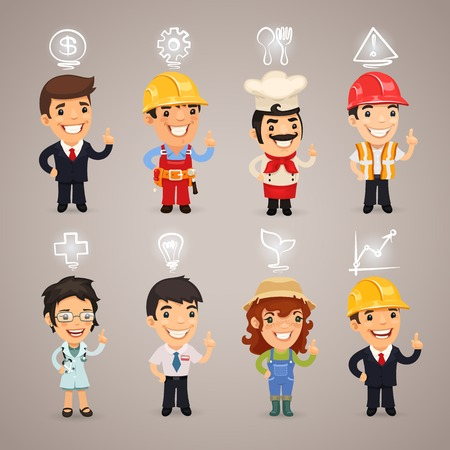 manager cartoon: Professions Characters with Icons.  each element is grouped separately.