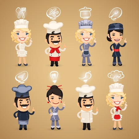 cook cartoon: Chefs with Icons Set.  each element is grouped separately.  Illustration