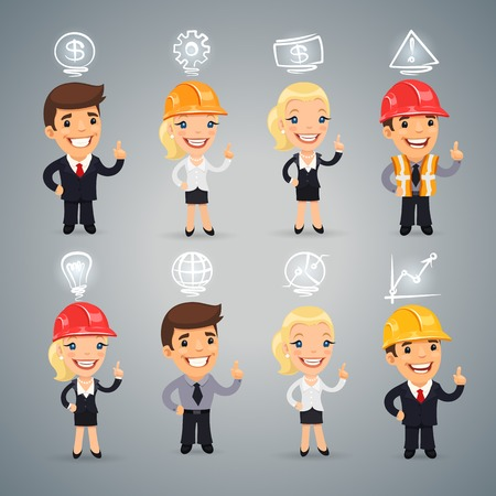 woman engineer: Businessmen with Icons Set.  each element is grouped separately.  Illustration