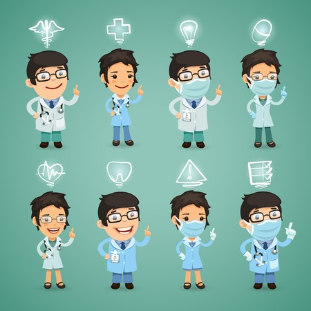 Médicos con set de iconos. cada elemento se agrupan por separado. Vectores