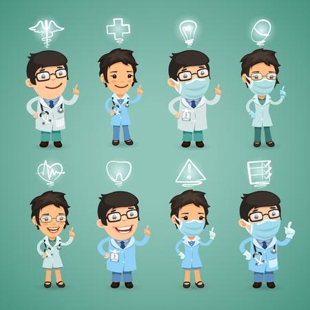 dientes caricatura: Médicos con set de iconos. cada elemento se agrupan por separado. Vectores