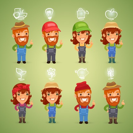 Farmers with Icons Set.  each element is grouped separately.  Vector