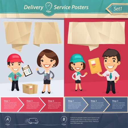 Delivery Service Posters.  each element is grouped separately.  Vector