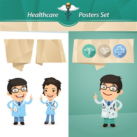 Doctors with Speech Bubbles Set.  each element is grouped separately.  Vector
