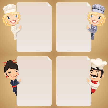 canteen: Chefs Cartoon Characters Looking at Blank Poster Set.  each element is grouped separately.  Illustration