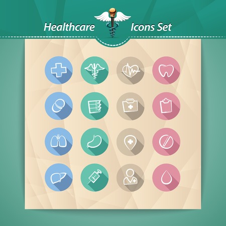 Healthcare Flat Icons Set.  each element is grouped separately. Vector
