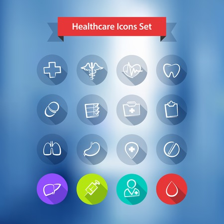 Hospital Blur Background With Flat Icons Set.  Vector