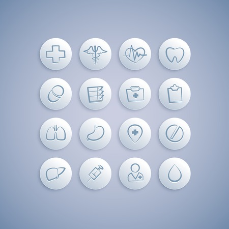 Set of Medical Icons on Pills.  Vector