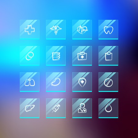 Medical Flat Glass Icons on Blur Background. Vector