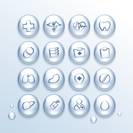 Medical Icons Set in Drops.  Vector